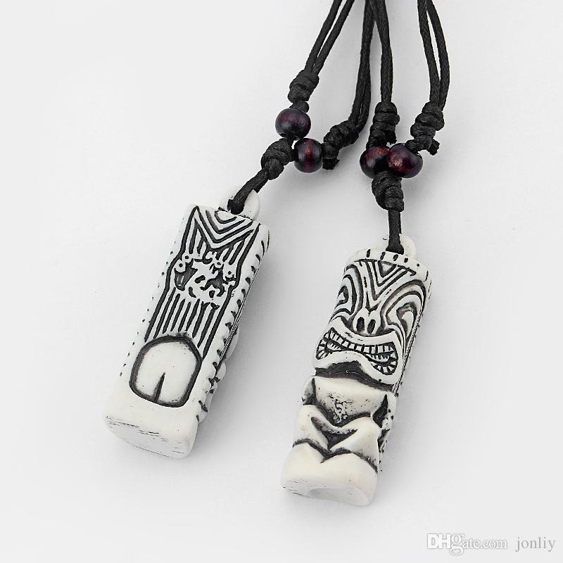Dropshipping 12pcs Mens white Tribal Yak Knochen geschnitzt Tiki Man Totem NecklaceAnhänger 51x18mm