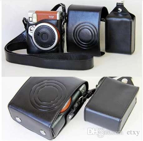 Корпус / коричневый набор сумка черная крышка цифровой для искусственной кожи Instax Mini 90 Fuji камера Fujifilm Case с ремешком IPLIB