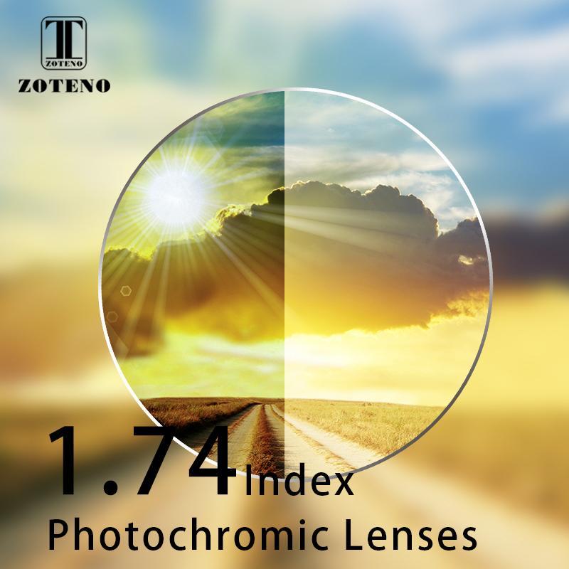 1.74 lentes fotocromáticas de índice Transición de resina asfórica monofocal Lentes de color marrón gris Miopía lentes ópticas de gafas de sol de hipermetropía