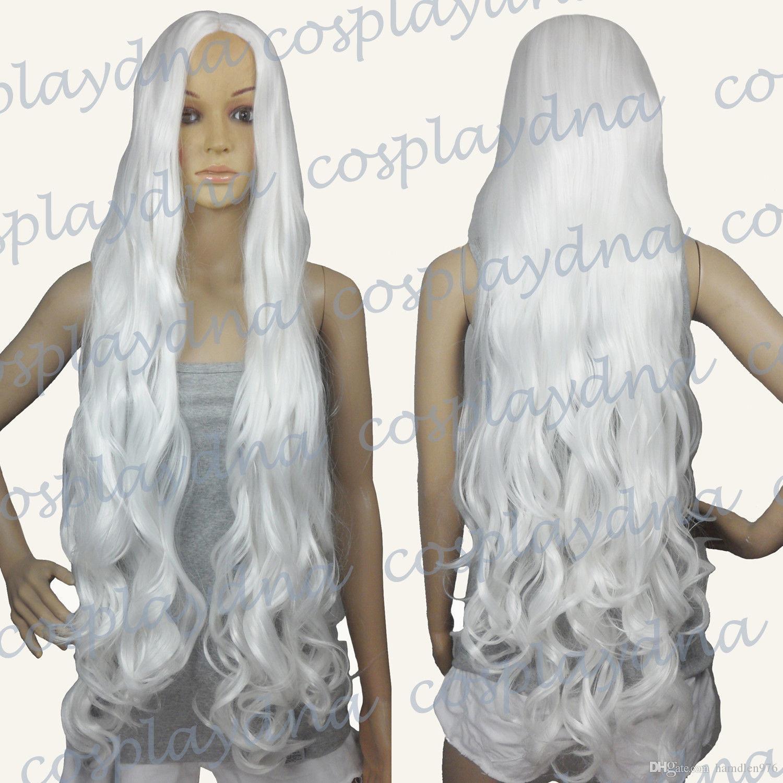 Бесплатно shippingTemp нет челки Midpart Белый длинные волнистые косплей ДНК парики
