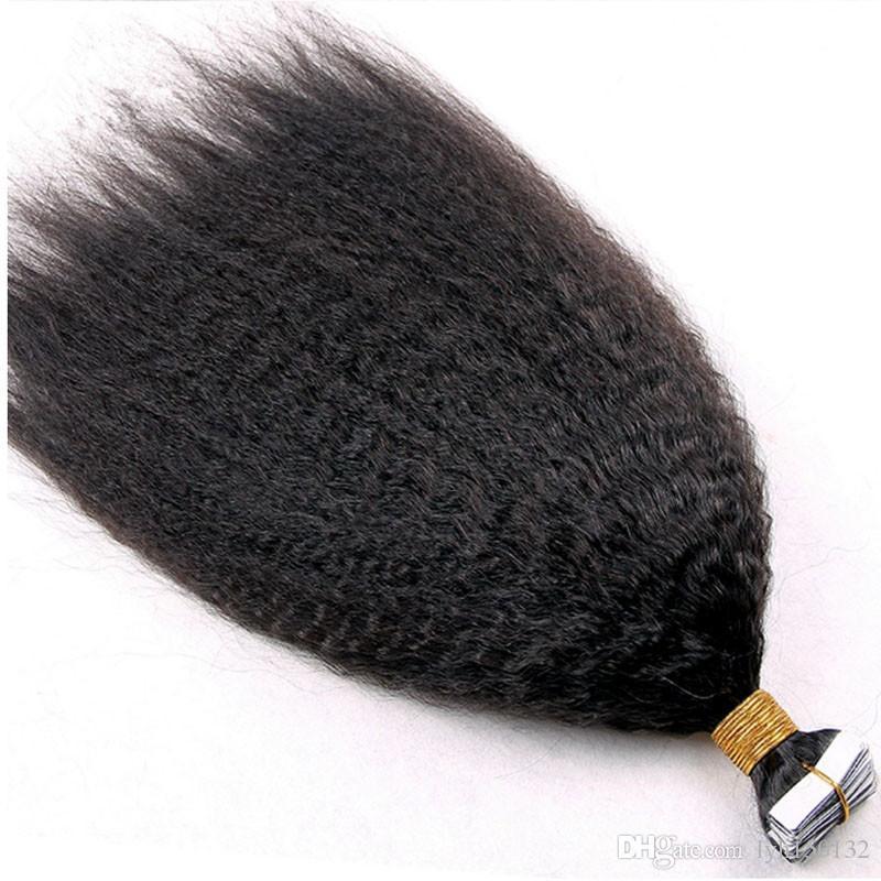 Grosso Yaki Fita Extensões de Cabelo 40 pcs kinky pele reta trama extensões de cabelo fita 100g yaki fita natural em extensões de cabelo humano