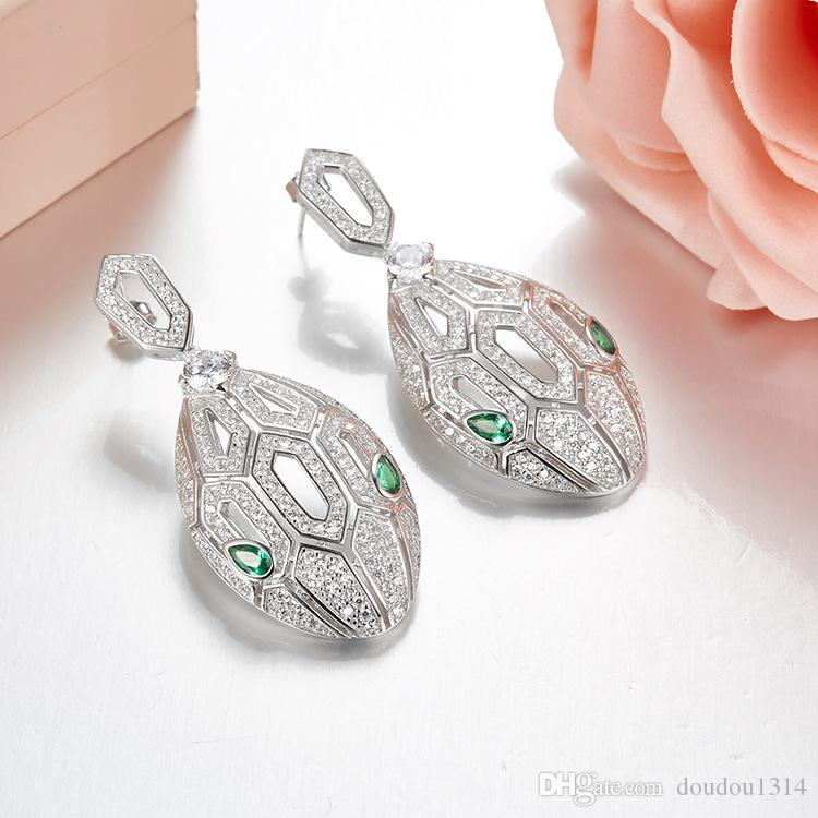 Europe America luxury design new fashion high quality party jewelry for women 925 sterling silver paved cz stone green eyes snake earrings