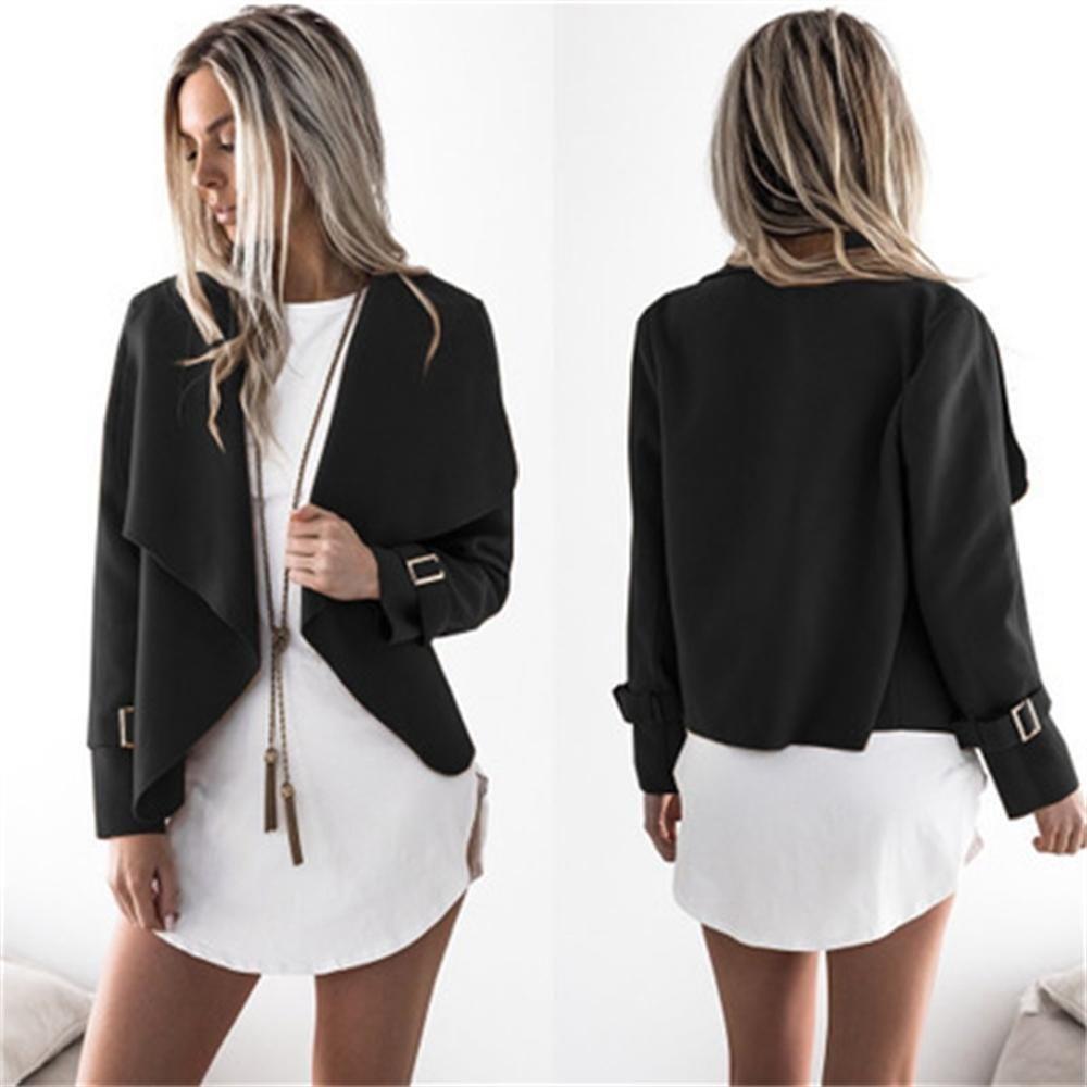 Automne Printemps À Manches Longues Cardigan Solide Femmes Large Revers Laine Manteau Veste Mince Outwear Veste Vin Gris Noir Vert Kaki S18101102