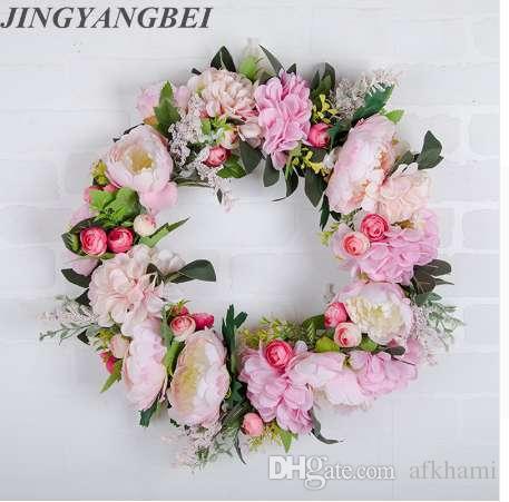 Hydrangea simulación guirnalda flor de seda decoración del hogar boda sala de bodas diseño falso flor puerta aldaba pared Artificial