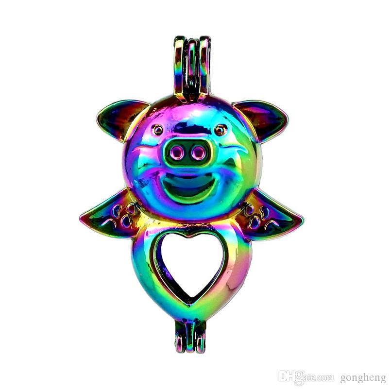 10 sztuk / partia Rainbow Color Serce Świnia Dziecko Koraliki Klatka Medelinowa Wisiorek Dyfuzor Aromaterapia Perfumy Oleje Olejek Dyfuzor Floating Pom