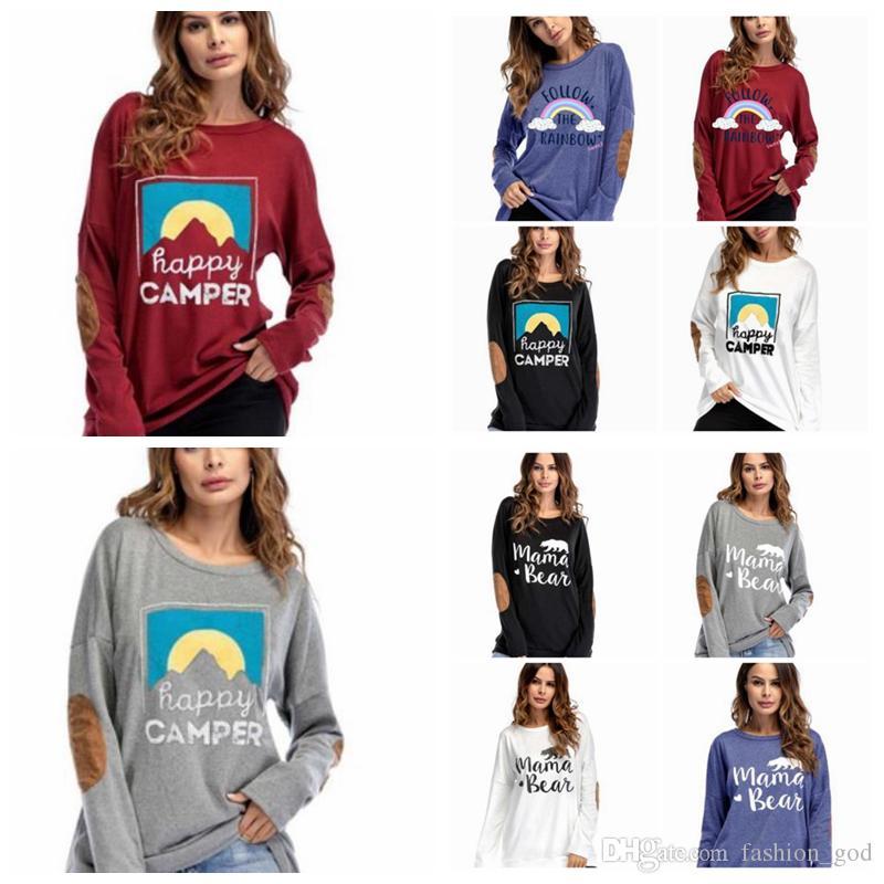 Женщины футболки пуловер мама медведь с длинными рукавами топы счастливый Campee письмо Радуга толстовки осень мода футболки Женская одежда LDH222