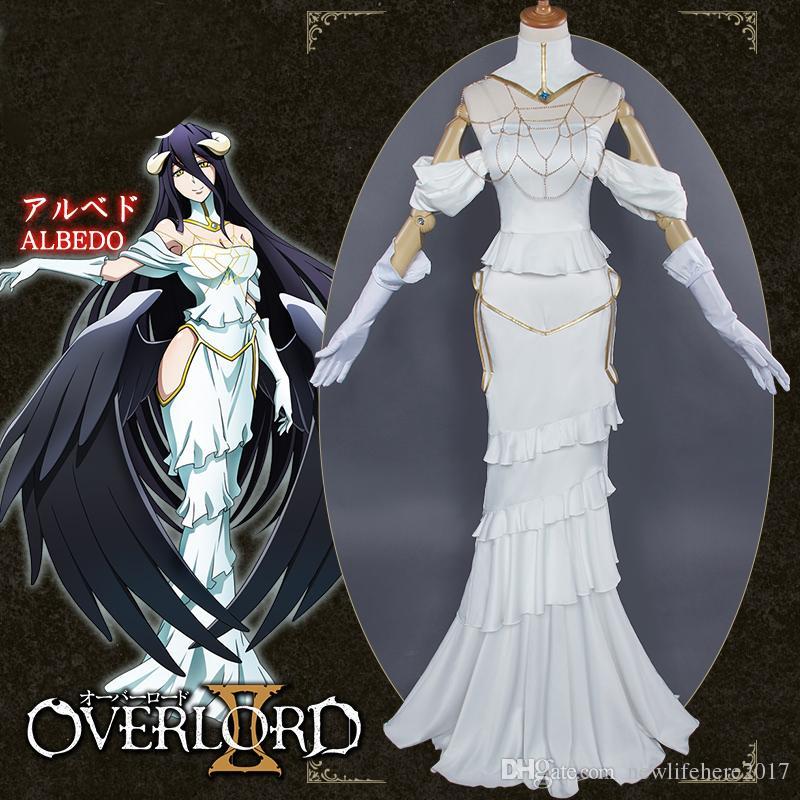 Albedo Cosplay Anime Overlord White Dress Costume Women Overlord Albedo Cosplay Halloween Christamas