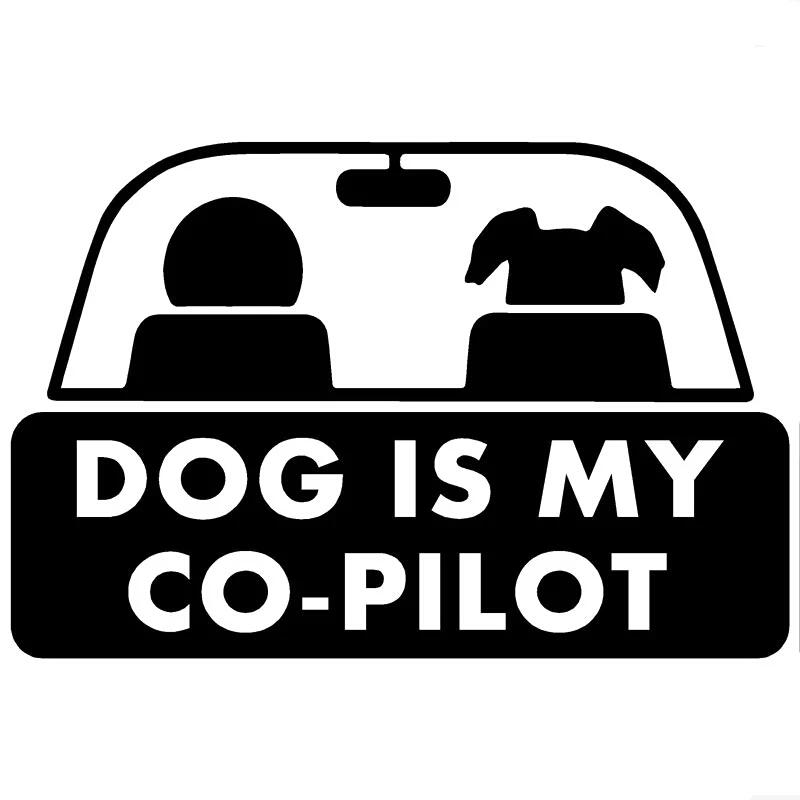 15 * 10 cm dog is my co-pilot funny pet styling auto sticker auto accesorios CA386-