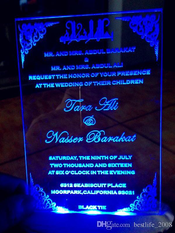 Acryl individuell angepasstes Logo WeddingBirthday-Einladungen mit kostenlosen Umschlägen (LED und weiße Box nicht enthalten) (L165mmxW114mmxT2mm) BL-181017