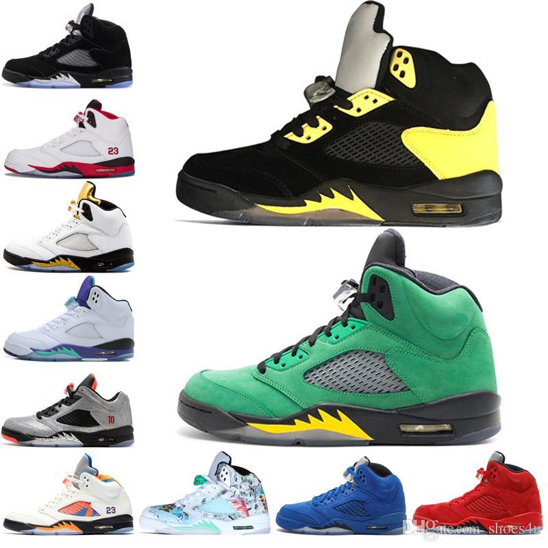 5 5s Wings International Flight Mens Basketball Shoes Red Blue Suede Low Metallic Silver Alternate 90 men sports sneakers designer trainers