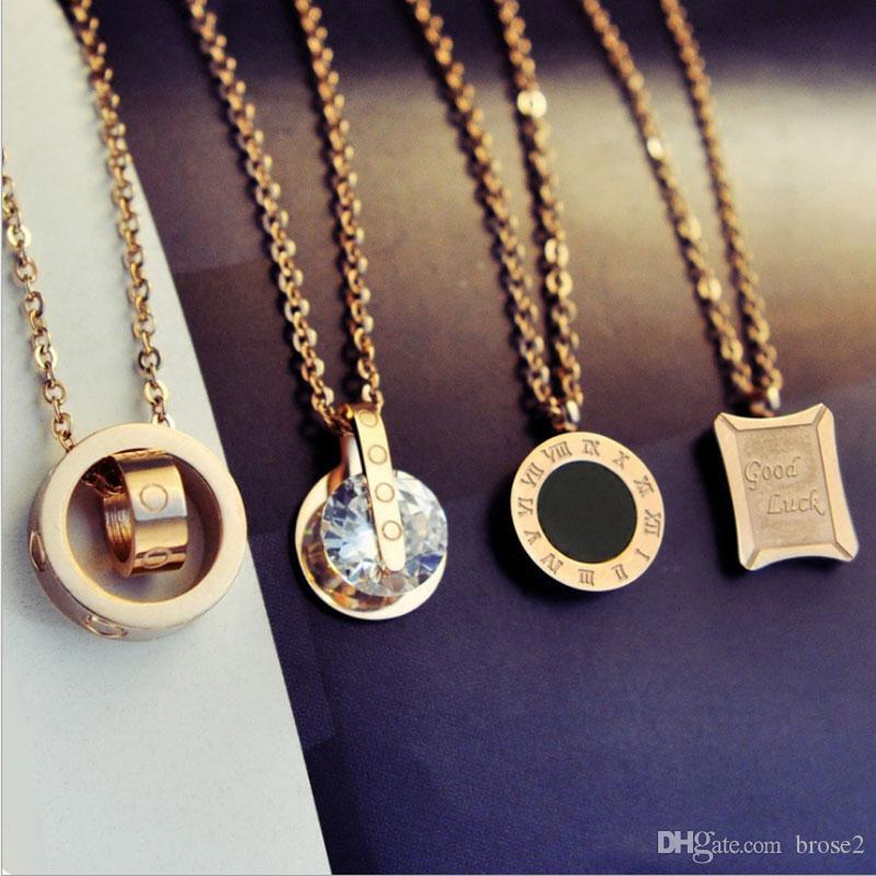 Ожерелье из титановой стали с цепочкой из розового золота в Японии и Южной Корее
