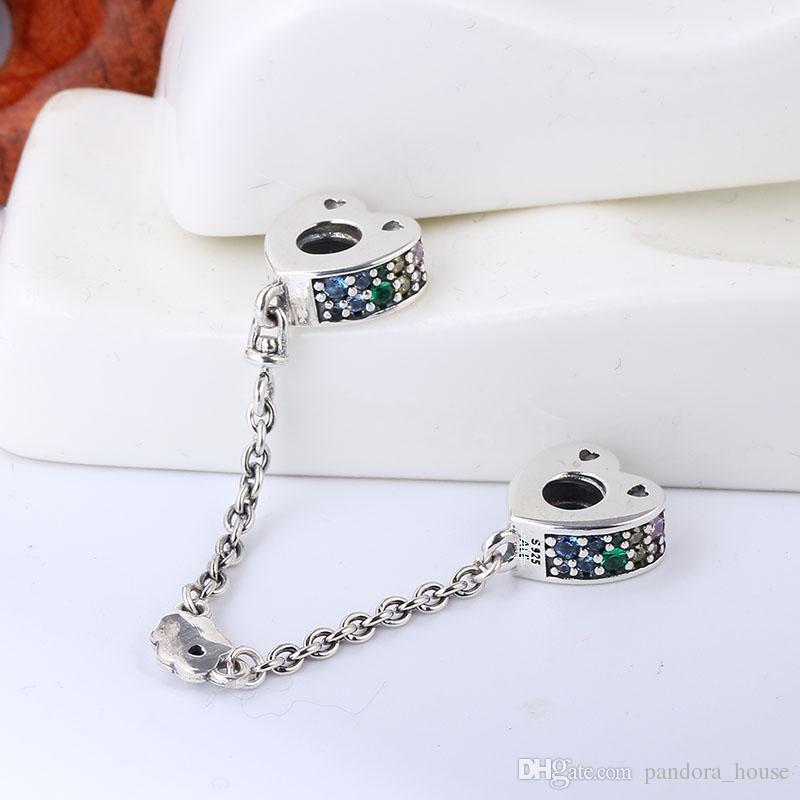 2018 Spring Fit Pandora Bracelets Charms perles colorées Saftety chaîne 100% Charms en argent sterling authentique perles pour bijoux bricolage Faire