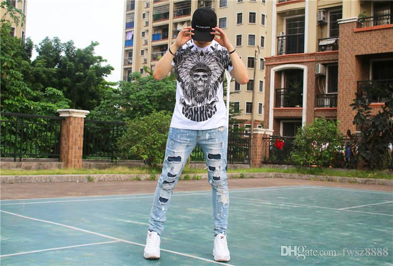 Nuovo modello breve T-shirt uomo abbigliamento di marca stampato moda estate T shirt maschio di alta qualità 100% cotone FWT701136