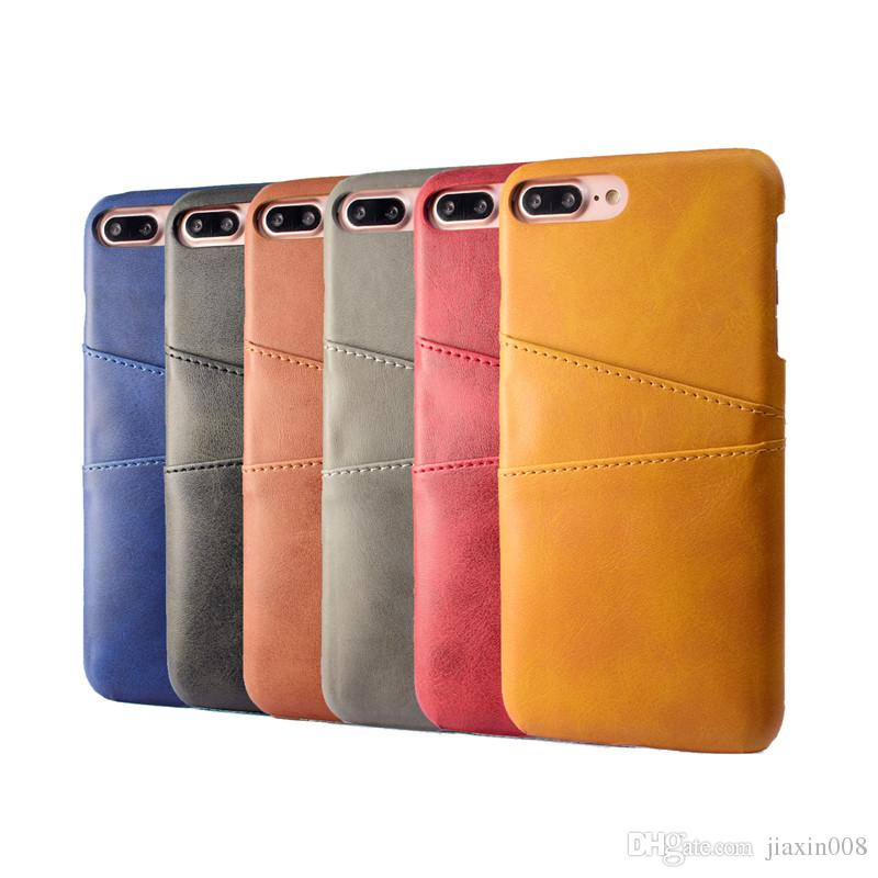 PU Deri Coque Apple iPhone 7 Için Artı Durumda Lüks Arka Kapak Kart Tutucu Apple iPhone 8 Için Cep Telefonu Kılıfları artı