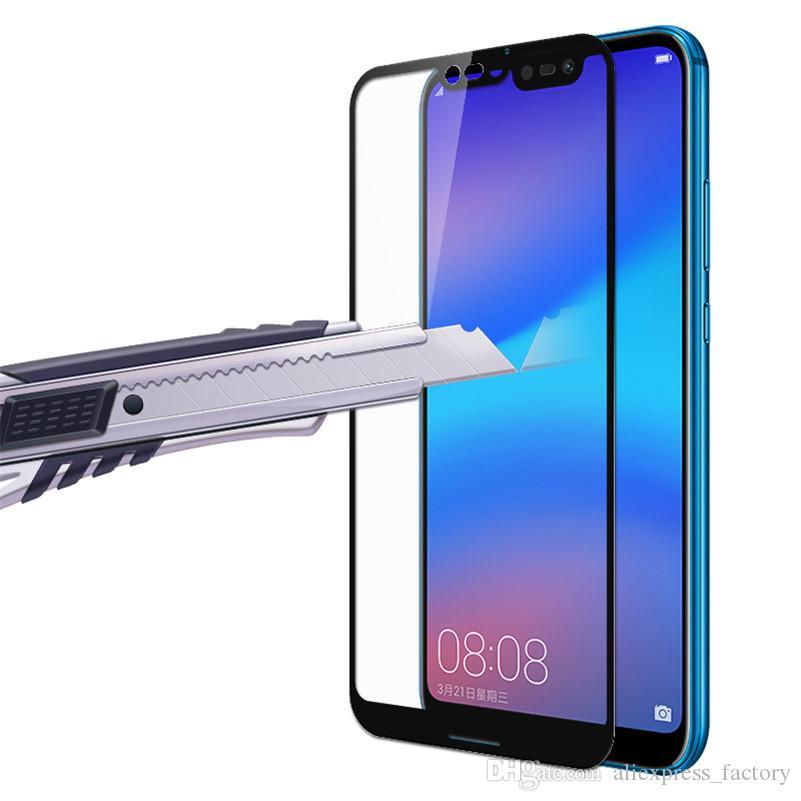 Drukowanie szkła hartowanego Hard Edge Screen Protector Guard Film dla Huawei P30 Lite P20 Pro Mate 20 x Y5 Y9 Nova 5 5i Honor 20i V20 9x 8A 8C