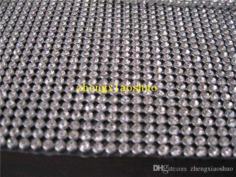 120cm (46 pulgadas) de largo 24Rows Diamond Ribbon Trim con 3 mm Piedras claras en el ajuste de plata Rhinestone Crystal Bling recorte para la decoración de la torta