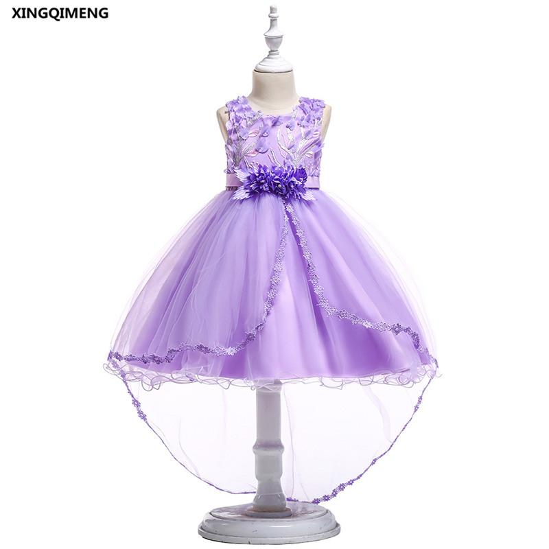 In Stock High Low Violet Flower Girl Dresses for Weddings 3-10Y Bow Formal Dress for Girls Elegant Pageant Tulle Ball Gown