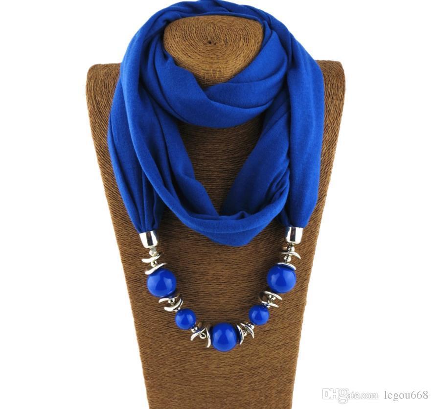 Pendant Scarf Necklace Bohemia Necklaces For Women Chiffon Scarves Pendant Jewelry Wrap Foulard Female Accessories GA369
