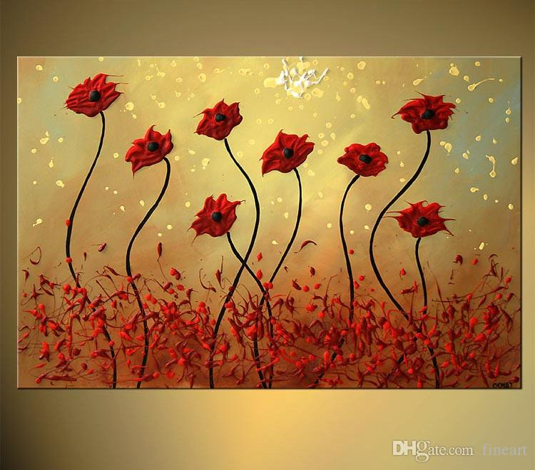 100% Handpainted Abstract Flower Art Paintings For Sale Art Beauty Quotes Acrylic Paint For Canvas Art Decor