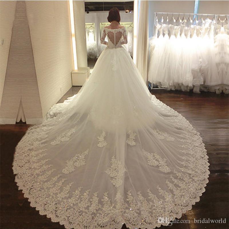 Роскошные кружева свадебные платья со съемным поездом длинными рукавами 2018 новый с длинным рукавом милая бисером кружева аппликации свадебное платье