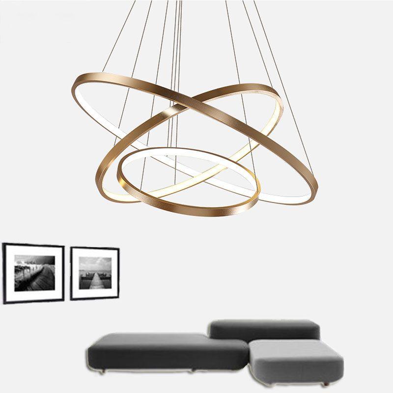 Fashional Dinning Room Modern Lustres Anéis Círculo Led Chandelier luz para a iluminação interna AC 85-260V 40CM 60CM 80CM 100CM
