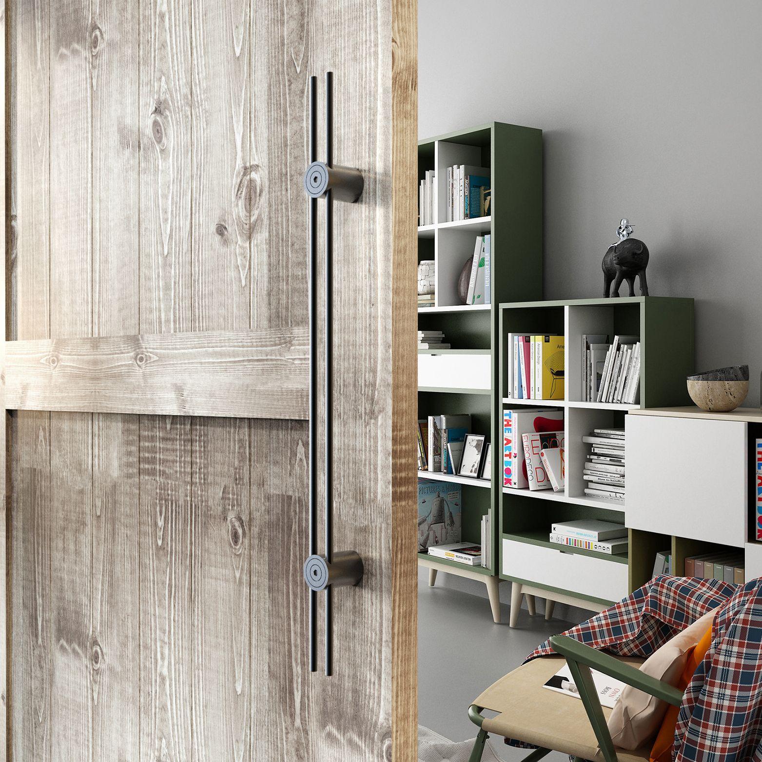 Trousse de poignée de traction longue en acier inoxydable lisse lisse en acier inoxydable pour porte de grange en bois longue 600/800/900/1000/1200 / 1500mm