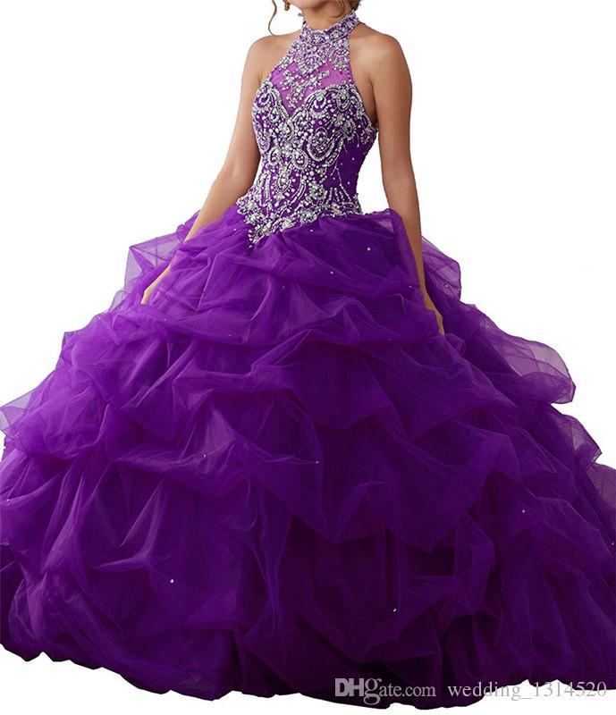 Quinceanera Dresses Purple Eugen gauze skirt grip bubble tail tail bandage collar collar net design high collar cheap mail