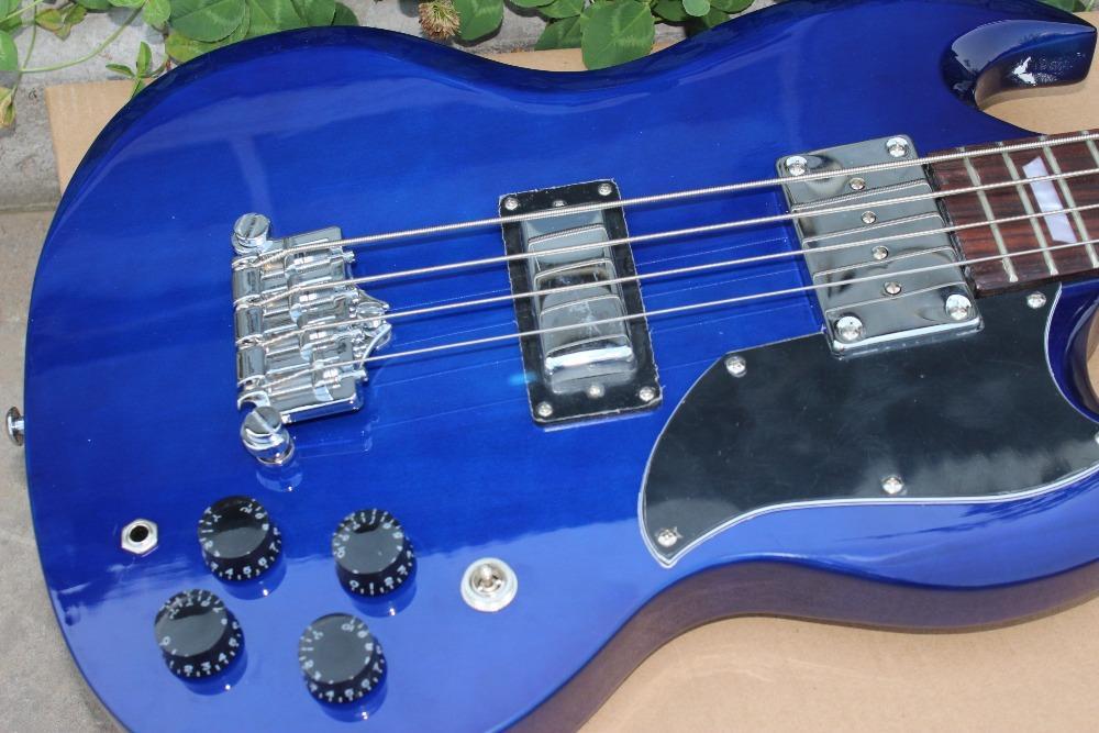 Custom shop double cutaway 4 سلاسل الأزرق sg الكهربائية باس الغيتار روزوود الأصابع ورقة الرصاص، كروم الأجهزة