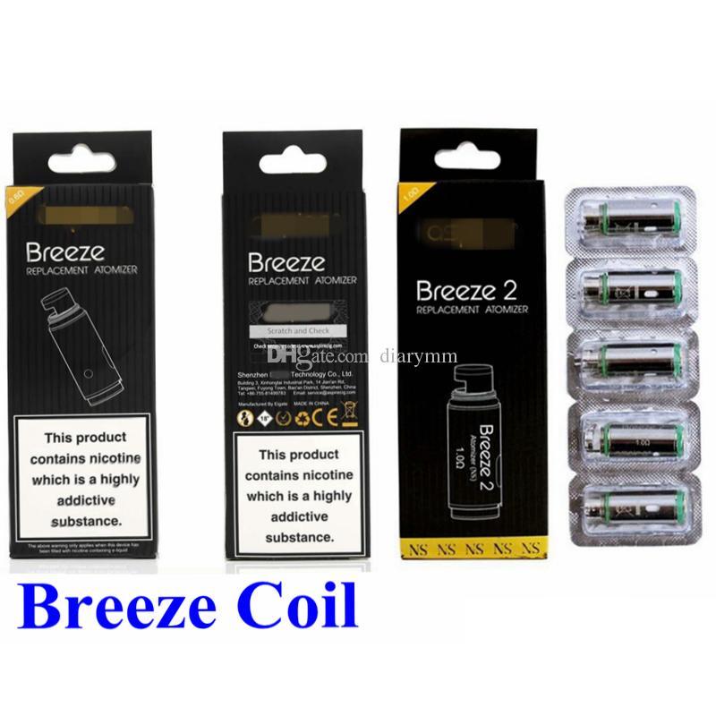 Breeze Coil 0,6 1.2ohm Coil Breeze 2 1.0ohm sostituzione bobine con nucleo testa per vaporizzatore Breeze 2 kit sigaretta DHL