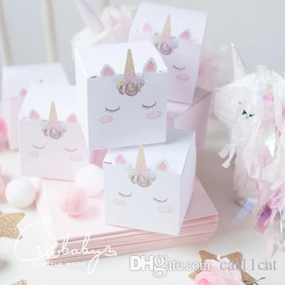 Gökkuşağı unicorn Favor Kutusu Şeker Kutusu Hediye Kutusu Kız Çocuk Doğum Günü Parti Malzemeleri Pembe Dekorasyon Olay Parti Malzemeleri