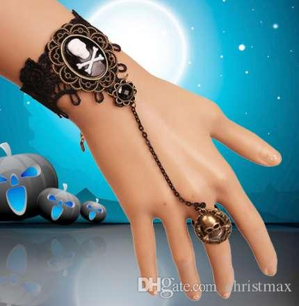 1 Adet Cadılar Bayramı Dantel Moda Bayan Zarif Bilezik Retro İskelet Kafatası Gotik Bilezik Yüzük Seti Cadılar Bayramı Aksesuarı