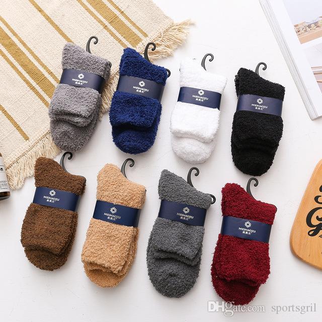 2018 Männer Casual Warm Fuzzy Socken Soft Solid Handtuch Socken Innen Terry Socke für Winter Herbst