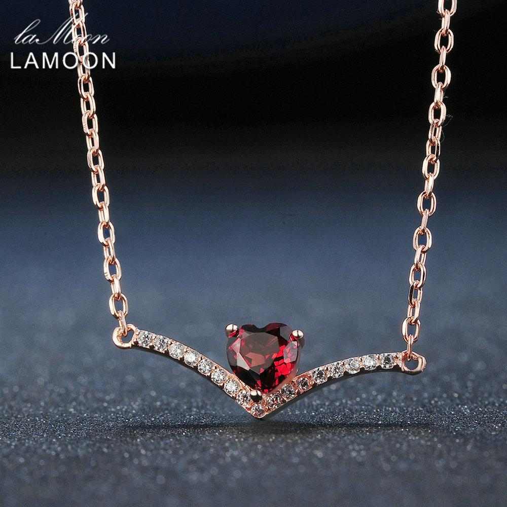 Lamoon Elegent 4mm Natürliches Herz Rote Granat 925 Sterling Silber Kette Anhänger Halskette Frauen Schmuck S925 LMNI044 Y18102910