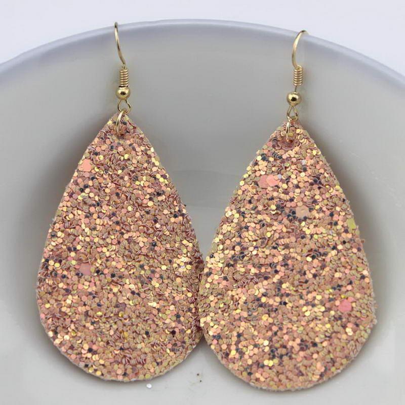 Las mujeres calientes de moda Glitter pendientes de cuero de la lágrima para las mujeres diseñador de la joyería grandes pendientes pendientes al por mayor