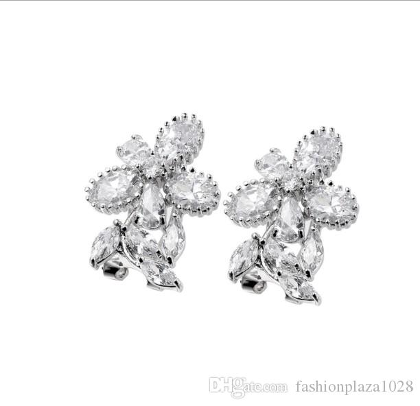 Christmas Gift Newest Sale Direct Selling Women 925 Sterling Silver Jewelry White Crystal Zircon Gemstone Stud Earring Free Shipping NEW