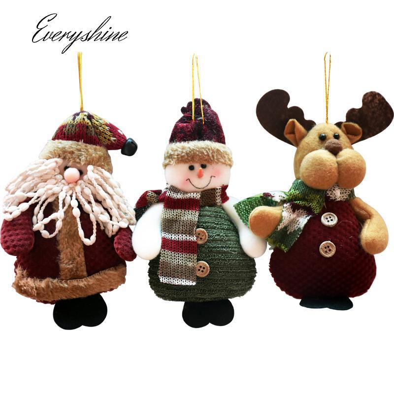 Weihnachtshauptdekorationen Weihnachtsmann Schneemann Rentier Puppe Anhänger Xmas Party Baum Hängende Ornamente Kinder Geschenke DS150 Y18102609