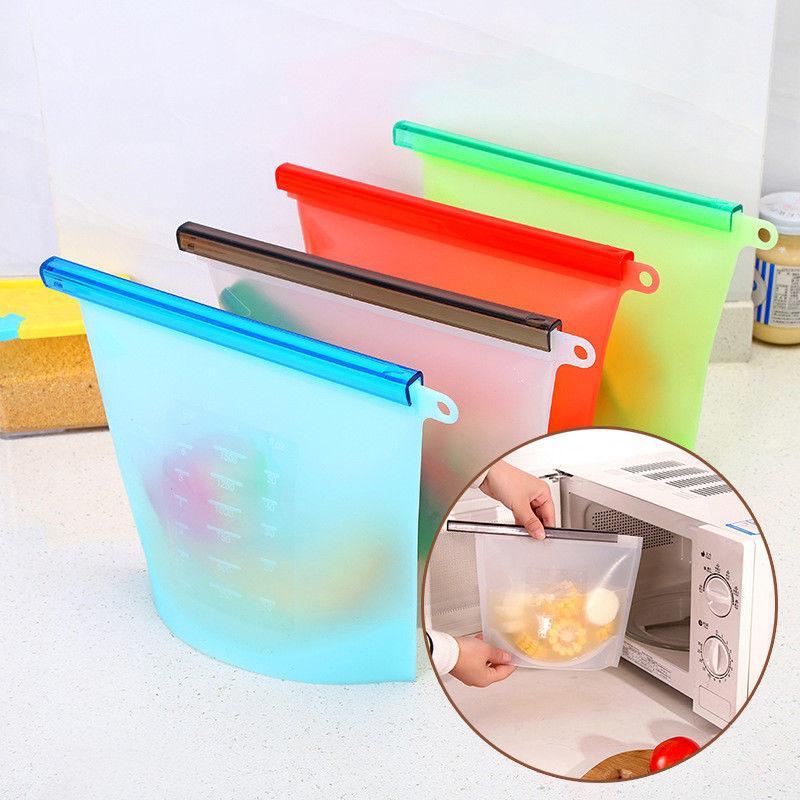 4 أنماط سيليكون تخزين الأغذية الطازجة حقيبة محكم ختم أكياس الثلاجة الغذاء الحاويات الثلاجة كيس المطبخ الطازجة حفظ حقيبة FFA1112 20 قطع