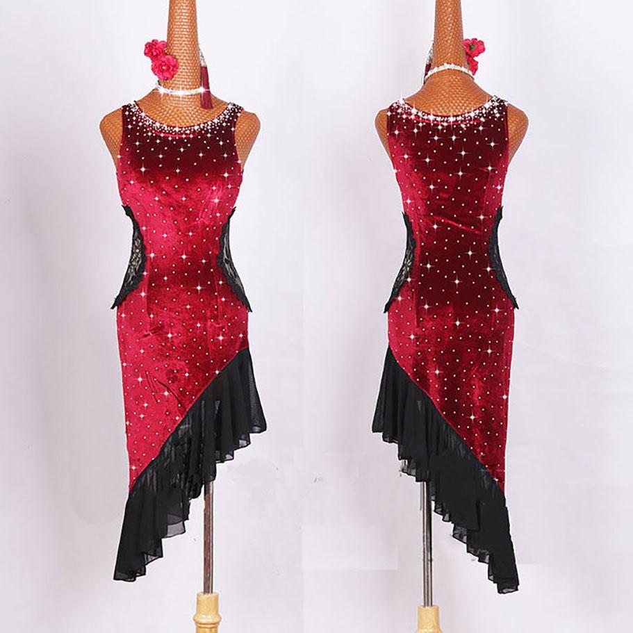 Buena calidad vestidos de baile latino para damas trajes de color burdeos trajes de salón de baile de las mujeres trajes femeninos competitivos E007