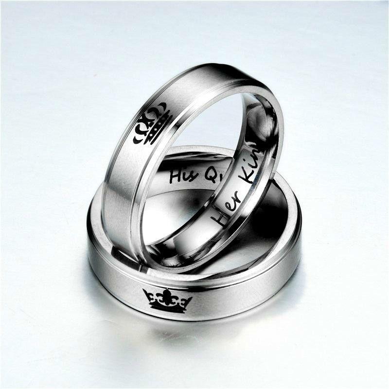 Satış Onun Kral Onun Kraliçe Yüzük Mektubu Paslanmaz Çelik Yüzük Band Yüzük Çift Yüzükler Kadın Erkek Severler Düğün Takı Hediye Için DAMLA GEMI