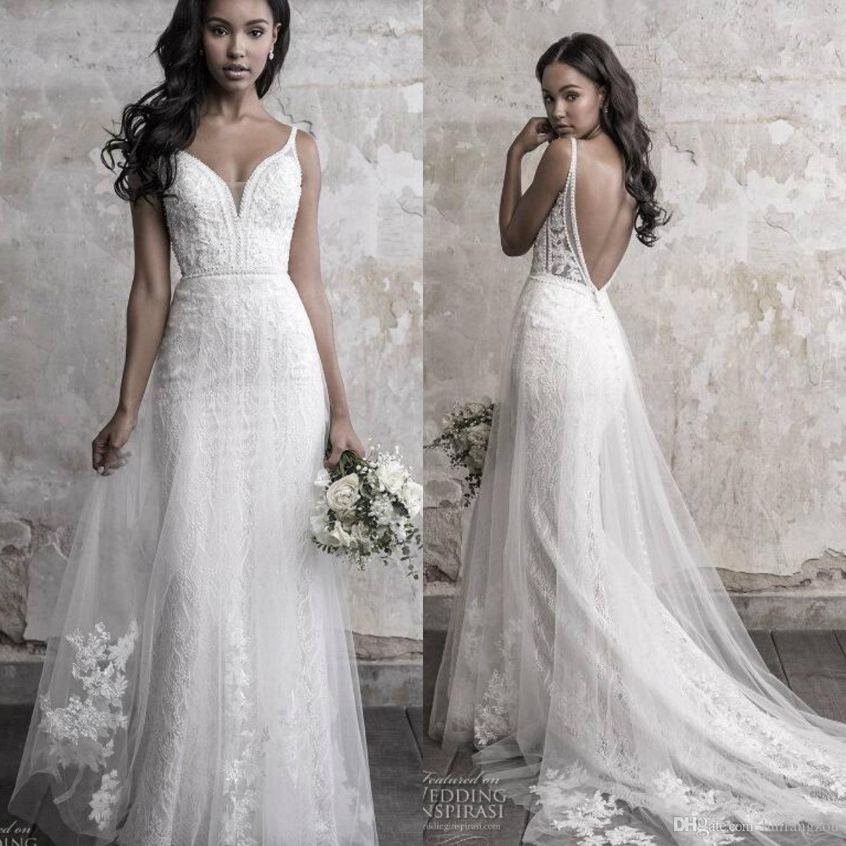 Großhandel Madison James Herbst 19 Hochzeitskleid Meerjungfrau Stil Volle  Spitze Major Perlen Backless Sexy Brautkleider Vestido De Noiva Von