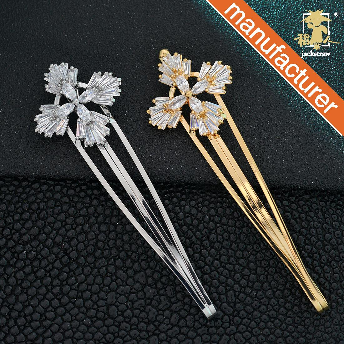 Adult Chinese style tassel hair clip imported rhinestone bangs a word clip flower hair accessories drop clip
