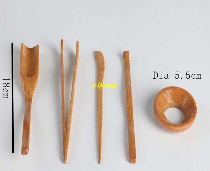 100sets/lot Free shipping 5pcs/set Natural Bamboo Tea Spoon clip leak Tea needle teaspoon Kung Fu Tea Set