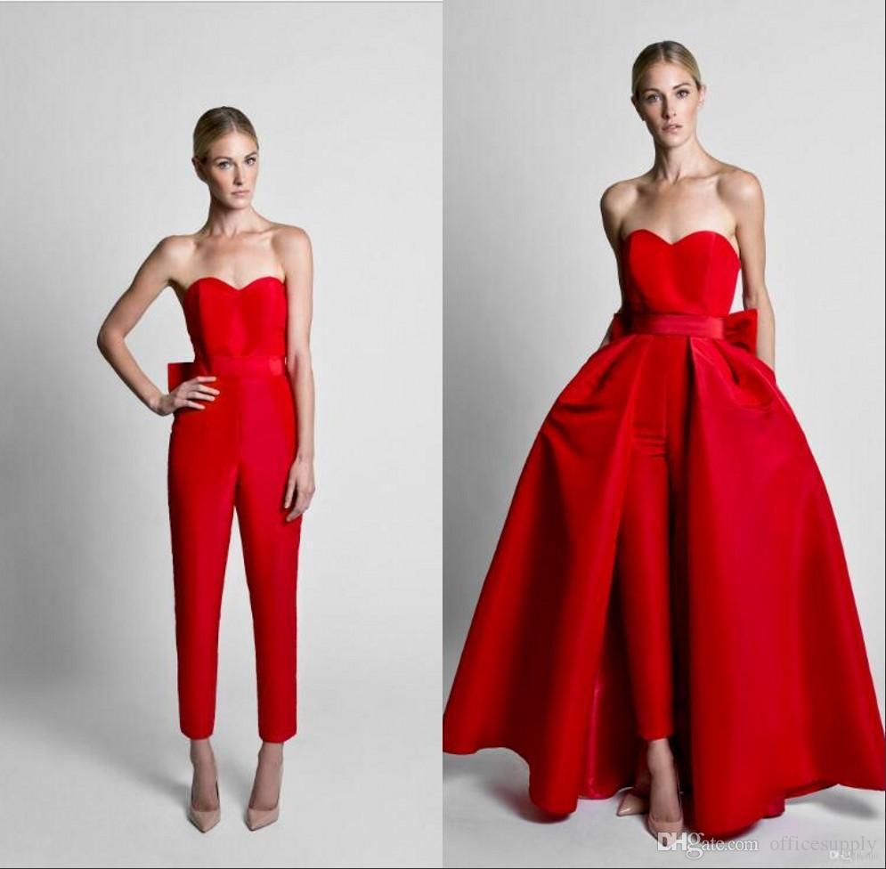 2018 mère de la mariée marié costumes Combinaisons rouges robes de soirée de célébrité avec jupe amovible robes de soirée sans bretelles