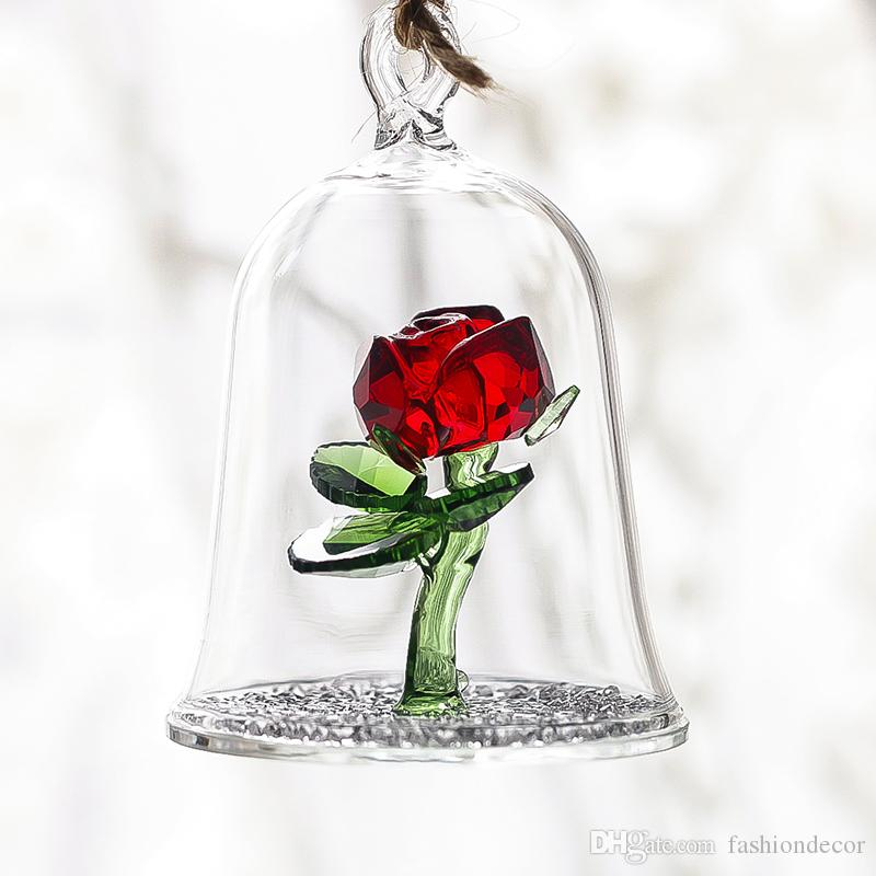 Kristallverzauberte rote Rosen-Glasskulptur in den Glaskuppel-Blumen-Figur-Verzierung-Liebhaber-Geschenken