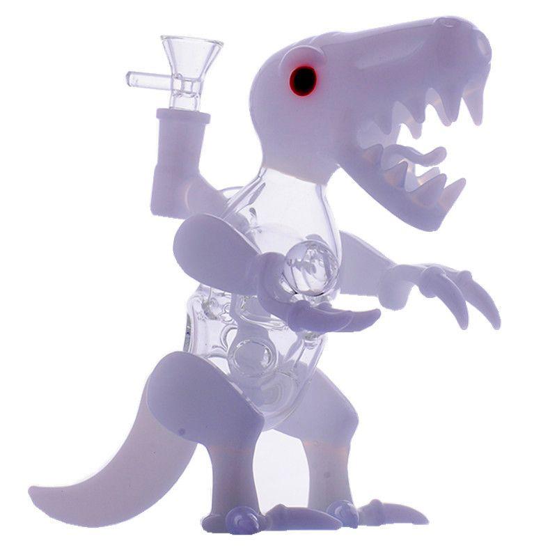 Cam Dino Rig Dab Donanımları El Bongs Cam Su Boruları 14.4mm Erkek Ortak Dinozor Şekli Beyaz Cam Bubbler Sıcak Satış