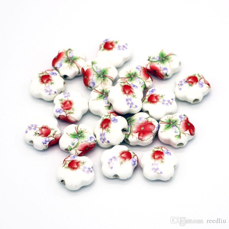 1000 teile / los 15mm Vintage Chinesische Keramikperlen Fit Halskette Armbänder DIY Spacer Perlen Für Schmuck Machen Sternform Keramikperle