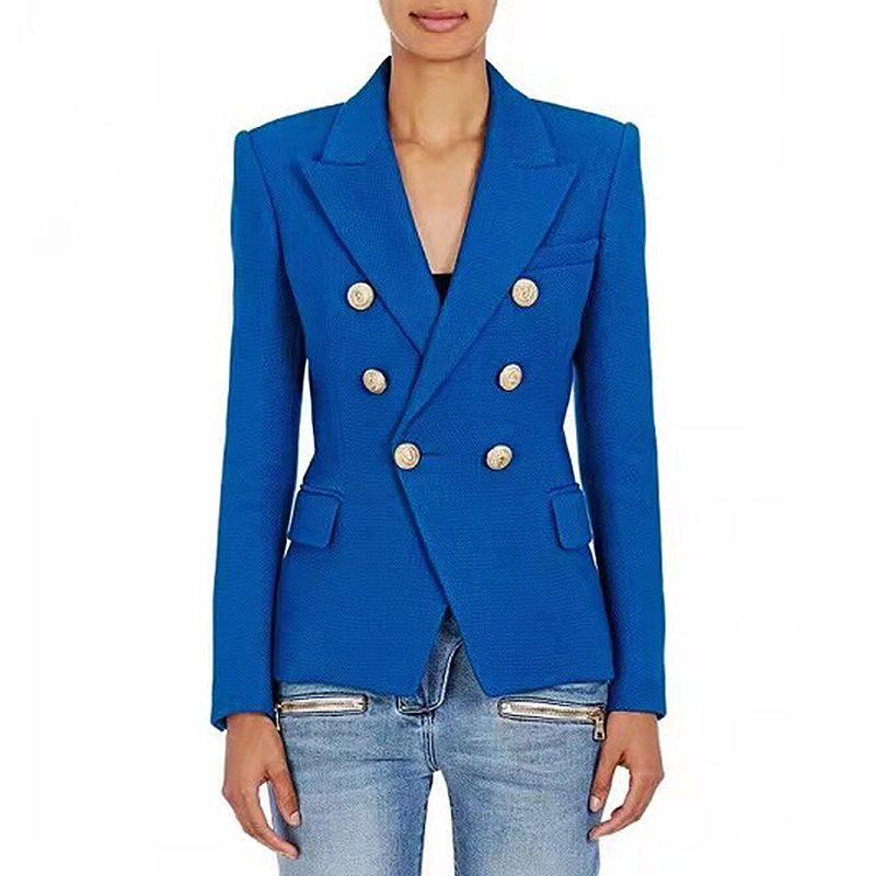 2018 new Casual primavera autunno blu Blazer feminino Giacca Donna Metallo con intaglio Bottoni leone Giacca doppio petto Cappotto Capispalla
