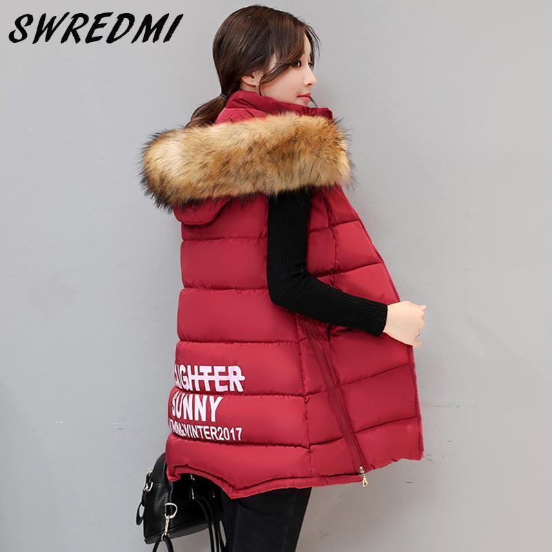 SWREDMI Autumn Winter Women Vest Waistcoat 2017 Women's Sleeveless Jacket Cotton Warm Hooded Long Vest Female Red,Back,Pink...