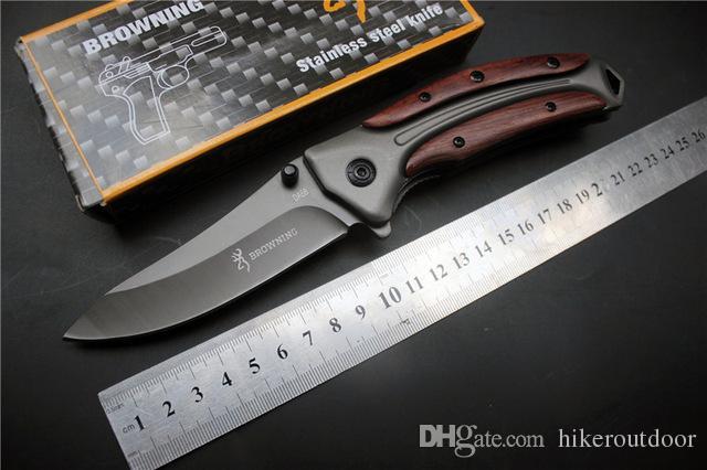 Miker Browning DA58 Тяжелый Tactical Складной нож сталь лезвия деревянной ручкой выживания карманный нож Охота Рыбалка EDC Инструменты ножи