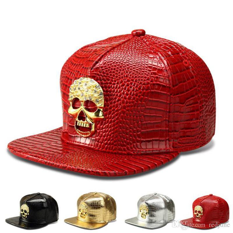 Tide brand skull crystal designer hats for men women hip hop baseball caps men adjustable PU ball caps men free shipping